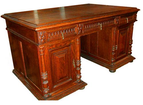 A Finely Carved 19th Century English Oak Partners Desk No. 670