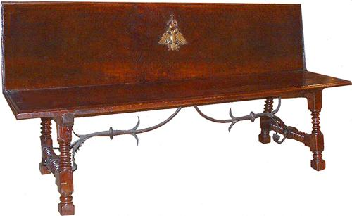 A 17th Century Royal Hapsburg Spanish Walnut Bench No. 2585