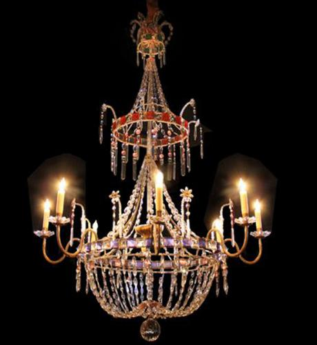 A Glorious 18th Century Gilt Bronze & Rare Crystal Chandelier No. 3928