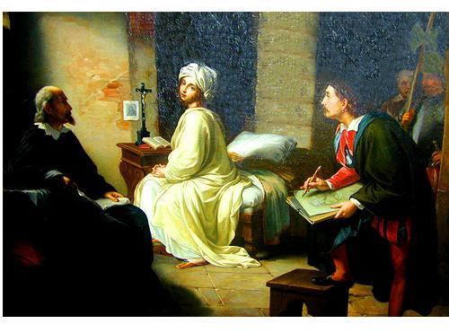 """A 19th Century Italian Oil on Canvas, """"Dante Sketching La Pia"""" No. 2319"""