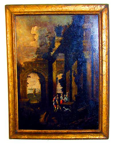 An 18th Century Italian Oil on Canvas, Scenes of a Gathering Among Architectural Ruins No. 1607