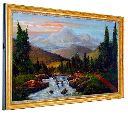 A 19th Century American Oil on Canvas, Landscape with Small Waterfall, Signed: Robert Kinkrin Lewis No. 1326