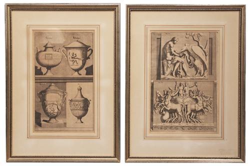 A Pair of 19th Century Italian Louis XVI Architectural Engravings No. 701