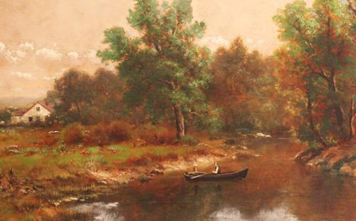 """Lazy Day"" 19th Century Oil on Canvas by American Impressionist Thomas Bartholomew Griffin No. 89"