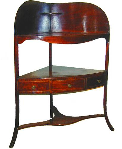 An Understated 18th Century English George III Mahogany Corner Washstand No. 2315
