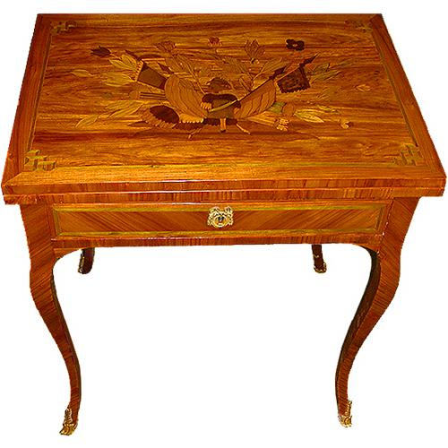 A Splendid 19th Century French Tulipwood and Marquetry Games Table No. 2261