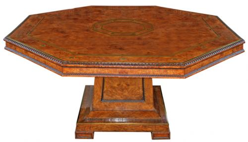 A Fine 19th Century English Regency Olive-Ash Burl Wood and Brass-Inlaid Center Table No. 1543