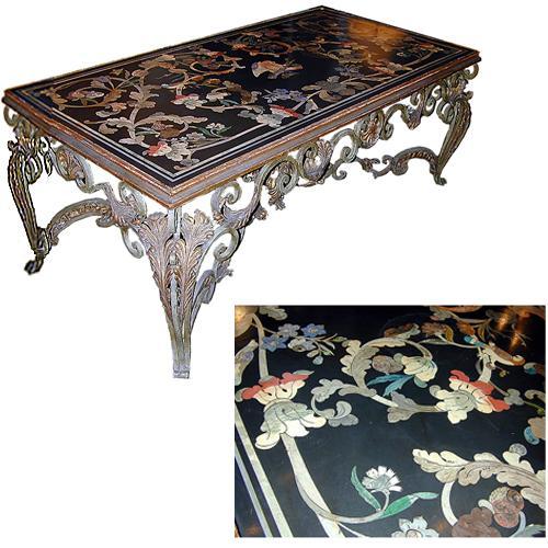 A 19th Century Italian Scagliola Black Slate Table Top No. 955