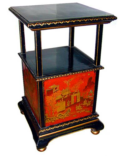 A 19th Century Chinoiserie Black Lacquer Side Table Stand No. 524