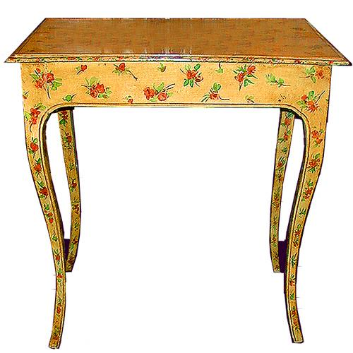 An 18th Century Italian Louis XV Green Polychrome Side Table No. 352