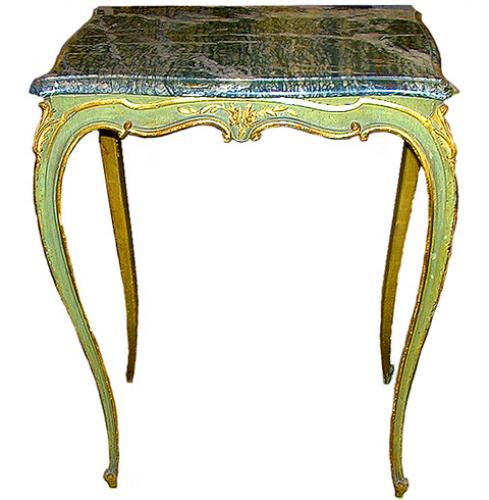 An 18th Century French Louis XV Green Painted and Parcel-Gilt Side Table No. 79