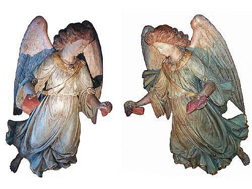 An Exquisite Pair of 18th Century Duomo Polychrome and Parcel Giltwood Angels No. 2072