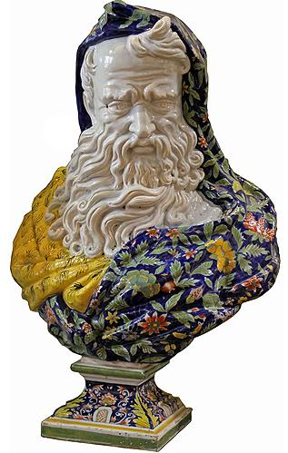 """A Magnificent and Rare 19th Century Faience Porcelain Bust of """"Winter"""" No. 1942"""