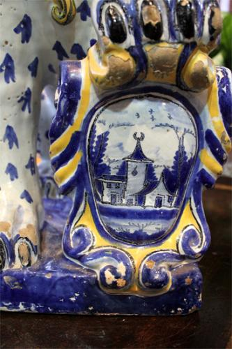 An Exceptional Pair of 18th Century Faience Ceramic Lions No. 1916