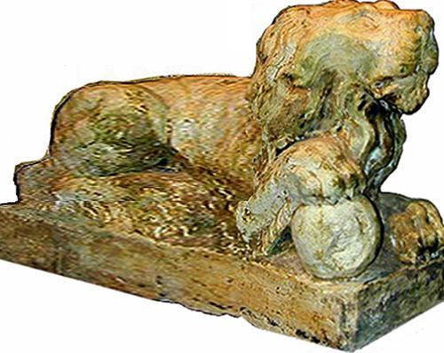 A Pair of Sculpted Stone Carved Lions No. 1905