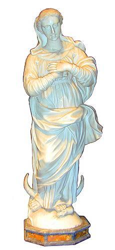 A 19th Century Italian Cremo Delicato Marble Sculpture of the Madonna No. 1792