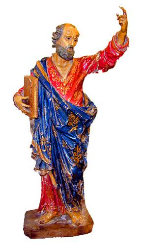 An Exquisite 16th Century Polychrome Carved Statue of Saint Paul No. 1628