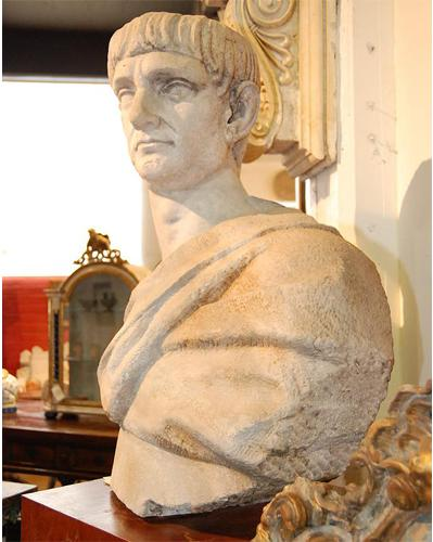 A Massive 18th Century Italian Carved Marble Bust of Trajan Caesar (96 A.D.) No. 1481