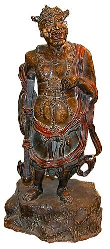 An 18th Century Figural Japanese Warrior Bronze with polychrome finish No. 505