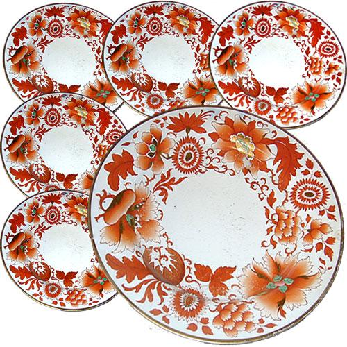 A 19th Century English Set of Six Flight, Barr & Barr Porcelain Plates No. 278