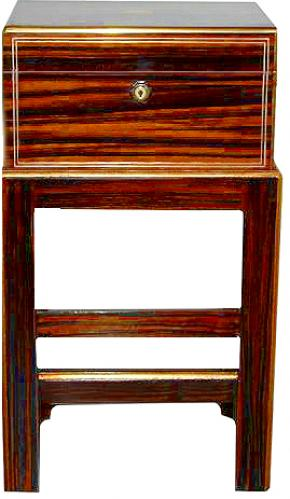A Rare 19th Century English Regency Macassar Ebony Jewelry Box now fitted as a Side Table No. 2673