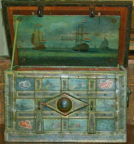 An 18th Century Polychromed Dutch Armada Iron Trunk 60