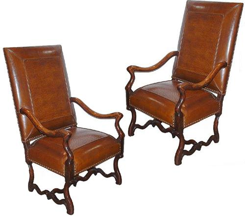 A Harlequin Pair of Late 18th Century Walnut Louis XIV Armchairs 2521