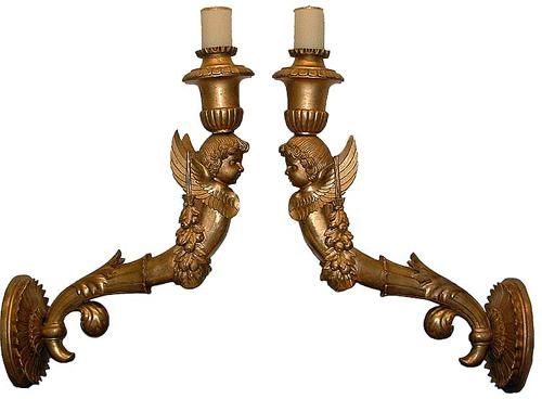 A Pair of 18th Century Italian Giltwood Sconces No. 2675