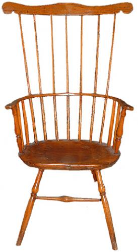 A Well-Patinated 18th Century Fruitwood American Colonial Comb Back Armchair No. 2506
