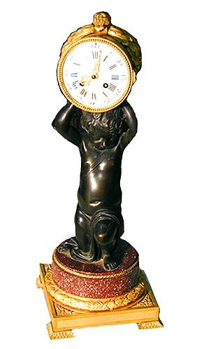 A 19th Century French Empire Patinated and Gilt-Bronze Clock No. 1510