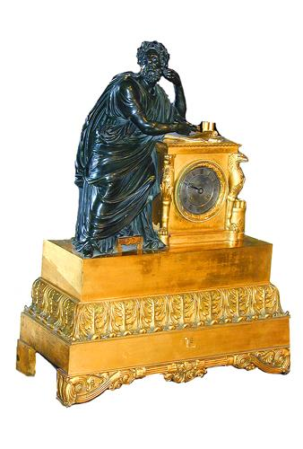 An Italian 19th Century Neoclassical Patinated and Gilt-Bronze Clock No. 1508