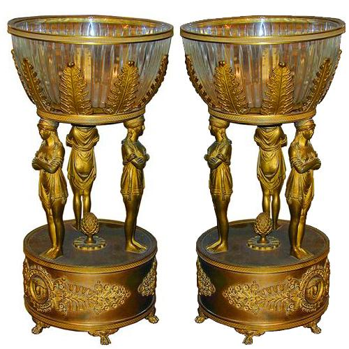 A Pair of 19th Century Italian Empire Style Gilt-Bronze Table Centerpieces No. 1506