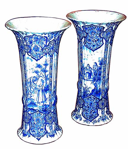 An English Pair of Intricately Decorated 19th Century Fluted Delft Beaker-Form Vases No. 1037