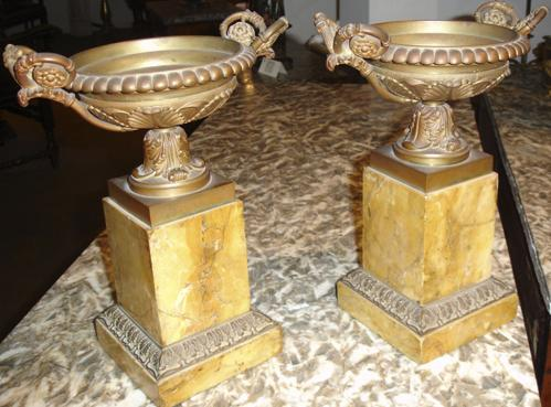 A Pair of 19th Century Continental Gilt-Bronze and Siena Marble Tazze No. 62