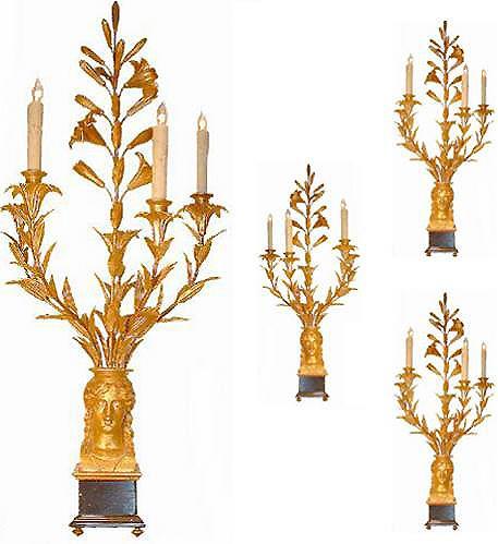 A Set of Four French 18th Century Lis Doré Three-Light Girandoles No. 2557