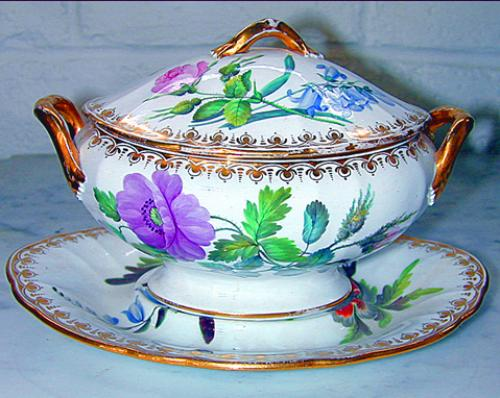 A 19th Century Hand-Painted Porcelain Soup Tourine and Saucer No. 414
