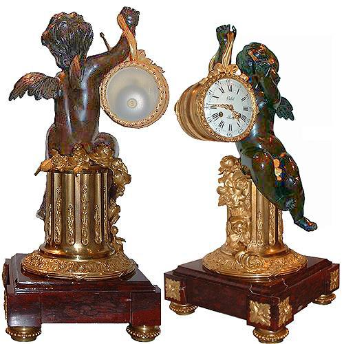 A 19th Century Well-Patinated Bronze and Ormolu French Mantel Clock with a Winged Putti No. 2757
