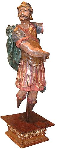 An 18th Century Polychrome and Carved Roman Soldier No. 2763