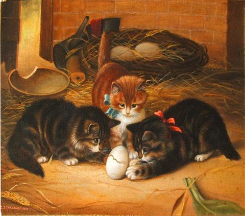 A 19th Century Oil on Canvas entitled The Egg No. 2784