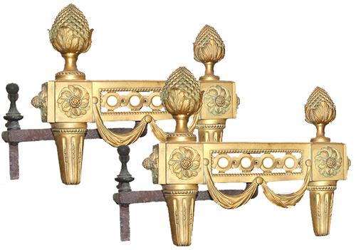 A Handsome Pair of 19th Century Louis XVI Gilt-Bronze Andirons No. 192