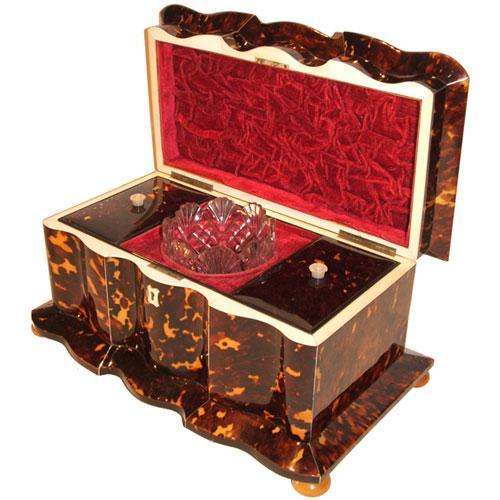 An Unusually Large and Rare 19th Century English Regency Tortoiseshell Tea Caddy No. 2832