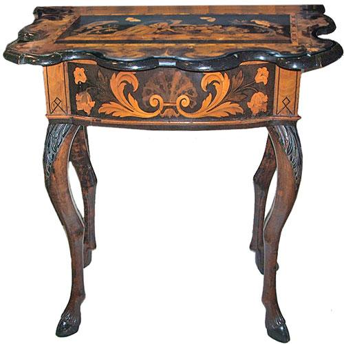 A Remarkable 17th Century Baroque Italian Lombardy Marquetry and Walnut Side Table No. 2835
