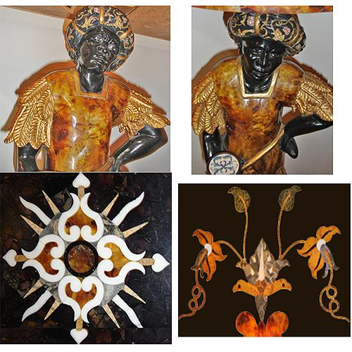 A Pair of Polychrome, Parcel-Gilt, and Pietra Dura Venetian Blackamoor Consoles No. 2849
