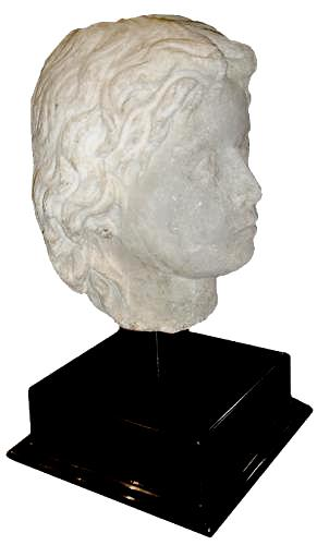 A Very Rare 200-300 A.D. Carved Stone Head of a Syrian Youth No. 2863