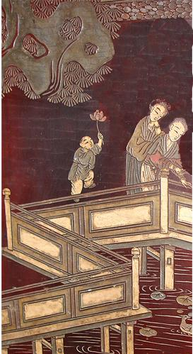 An 18th Century Chinese Sang de Boef Lacquer Screen No. 2874