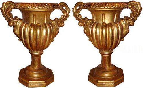 A Large Pair of Italian 18th Century Giltwood Decorative Kylix Urns No. 2965