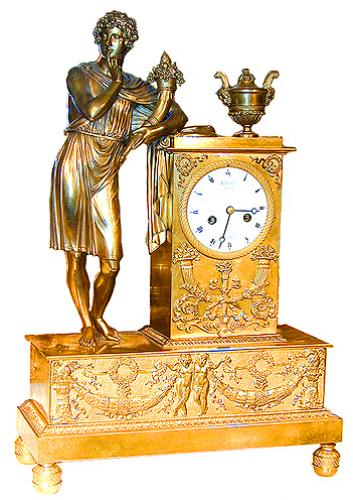 A 19th Century Italian Empire Gilt-Bronze Figural Mantel Clock No. 1511