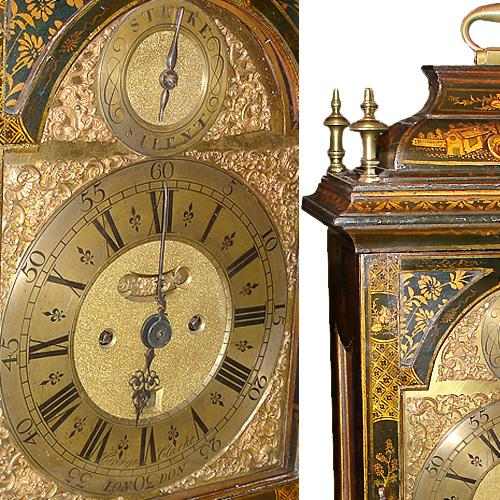 A Magnificent English George II Black Lacquered Chinoiserie Bracket Clock No. 1507