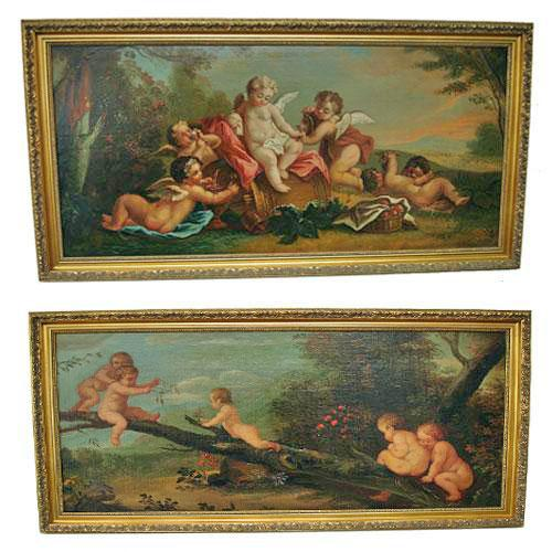 A Pair of Whimsical Oil on Canvas Paintings of Playful Putti No. 2886