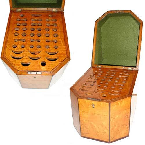 A Striking Pair of Early 19th Century English Regency Birdseye Maple Knife Boxes No. 3026